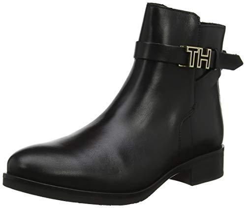 Tommy Hilfiger Damen TH Hardware Leather Flat Bootie Stiefeletten, Schwarz (Black 990), 41 EU