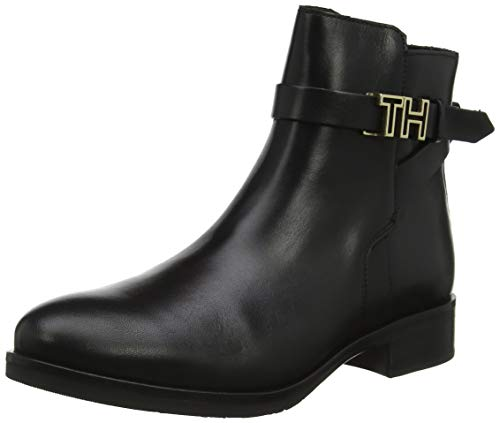 Tommy Hilfiger Damen TH Hardware Leather Flat Bootie Stiefeletten, Schwarz (Black 990), 39 EU