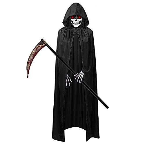 O-Kinee Costumi Halloween Kit, Mantello Cappuccio Nero, Contenere Falce della Morte, Guanti Scheletro, Scaldacollo Teschio per Halloween, Fumetti, Feste, Carnevale, Cosplay Halloween Carnevale