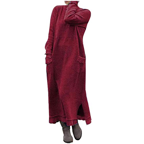YSLMNOR Large Size Dress for Womens Lace Patchwork Shirts with Pocket Plus Size Pullover Tops Wine