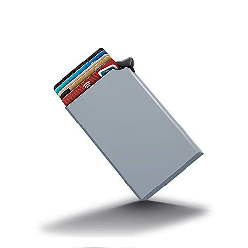 Oucity Estuche para tarjetas de visita, funda para tarjetas de crédito, funda de aluminio prémium, puede contener hasta 8 tarjetas, función pop-up, tarjetero para hombre y mujer (gris)