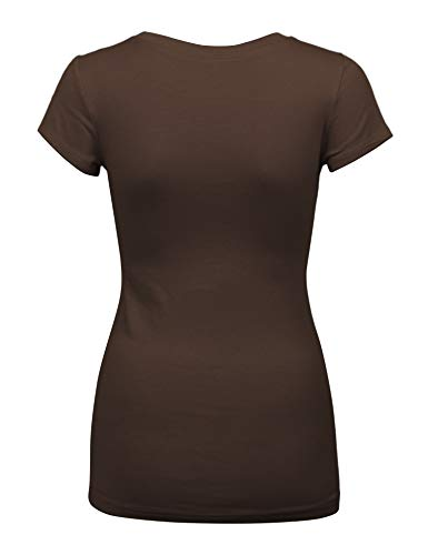 Womens Basic Light Brown Colors Slim Fit Round Neck Top (1000-LIGHT Brown-M)