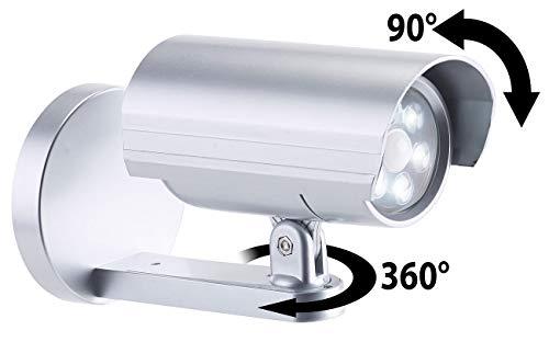Lunartec Videokamera Attrappe: 2in1-Dummy-Außen-Kamera & -Leuchte mit Bewegungsmelder, 25 lm, IP44 (Überwachungskamera Attrappe)