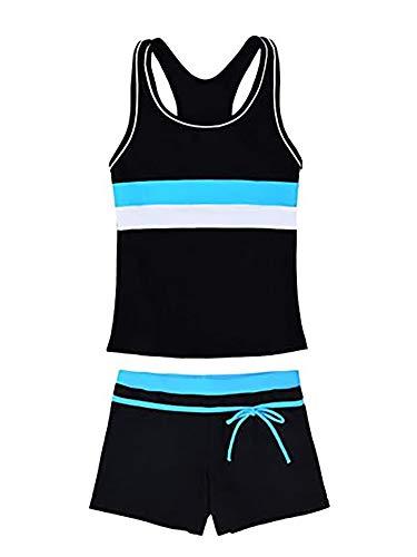 TiaoBug Mädchen Sport Tankini Set Badeanzug Retro Tank Top Tee T-Shirt Badeshirt und Shorts Badeshorts Schwimmanzug Bade Schwimm Bekleidung Schwarz 146-152