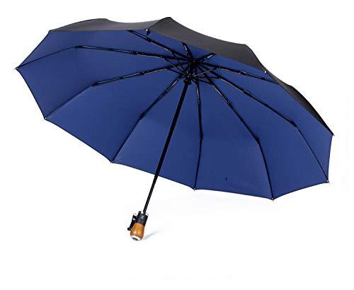 BLACK ELL Best Windproof compact Umbrella,Sturmfest Regenschirm Automatik,Vollautomatische Regenbekleidung mit zehn Knochen, super einfarbiger Regenschirm-Außen schwarz und innen blau_113cm