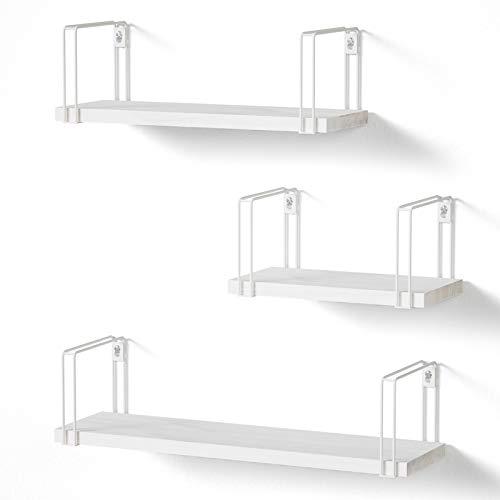 SRIWATANA Wandregal Weiß Hängeregal Holz 3er Set U-Form Schweberegal Wandboard Vintage, Ideal für Wohnzimmer Schlafzimmer Flur Badezimmer, Länge 43/33/23cm