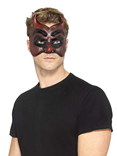 Halloween! Smiffys Maskenball-Teufel-Maske, Herren, Rot, Latex