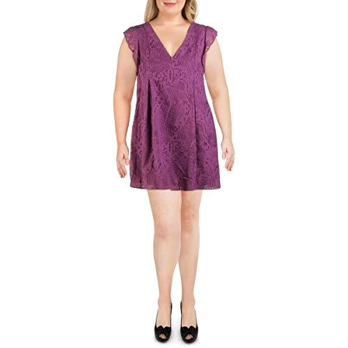 BCBGeneration Women's Tropical Burnout Shift Dress, Violet, L (Apparel)