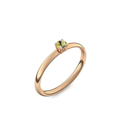 Rosegold Ring Peridot 585 + inkl. Luxusetui + Peridot Ring Rosegold Peridotring Rosegold (Rosegold 585) - Concinnity Amoonic Schmuck Größe 48 (15.3) AM161 RS585PEFA48