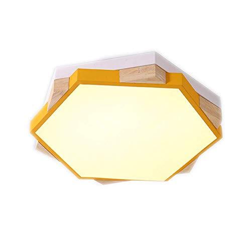 Z-GJM Dimbare led-plafondlamp voor kinderkamer, macaron-design, met afstandsbediening, lampenkap van acryl, voor jongens en meisjes, ter bescherming van de ogen, blauw Geel.