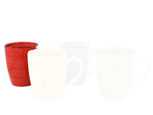 DRULINE Kaffebecher Uni Kafffeetasse Becher Tasse Porzellan Kaffeepott Bunt Mug (Rot, 6X)