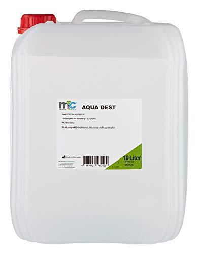 Aqua Dest destilliertes Wasser, 10 Liter Kanister, 0,9 µS/cm für Labor und Kosmetikstudio, Hobby und Camping.