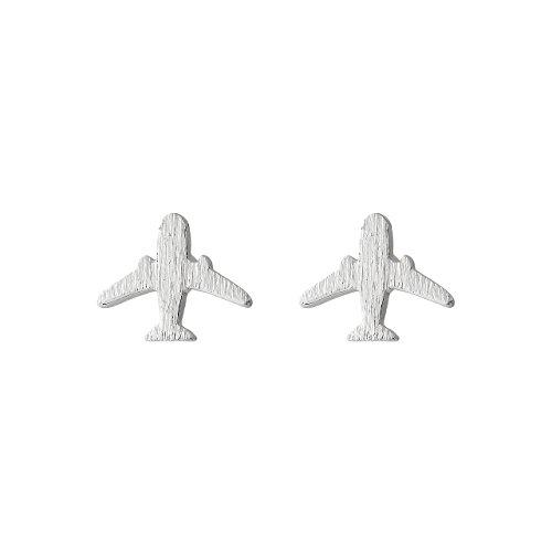 Selia - Orecchini a forma di aereo a farfalla, minimalista, effetto spazzolato e Ottone, colore: argento, cod. 237a; 238a; 239a