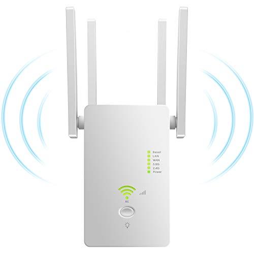 Repetidor WiFi,1200Mbps Amplificador WiFi 5.8G/2.4G Repetidor Señal WiFi ,WiFi Extender con Modo Repetidor/Ap/Enrutador Plug y Play Amplificador WiFi Casa Oficina Hotel con Botón WPS-Blanco