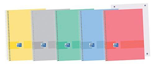 Oxford Cuaderno Microperforado A5+, Tapa extradura, Hojas lisas, Colores surtidos