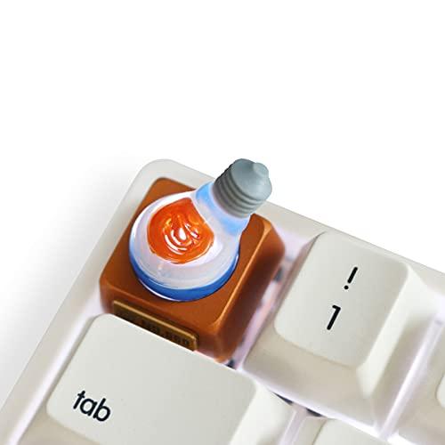 EnweKapu Gaming-Tastenkappen, Metall Tastenkappen, Tastenkappen WASD mit Hintergrundbeleuchtung, Handgemacht, Laser-Gravur für Mechanischer Tastatur Cherry MX, Die Glühbirne,Orange