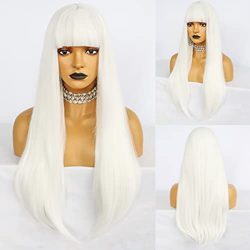 Anogol Hair Cap+High Temperature Long Natural Wavy Wigs White Synthetic Wig With Bangs Hair For Cosplay