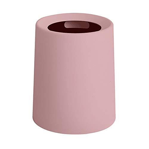 Hwerkf Maison Simple Poubelle Non Couverte Salon Vert Matériau Chambre Salle De Bains Cuisine Salle De Bains Poubelle Créative Plain Plain Double Design Durable (Color : Pink, Taille : Small)