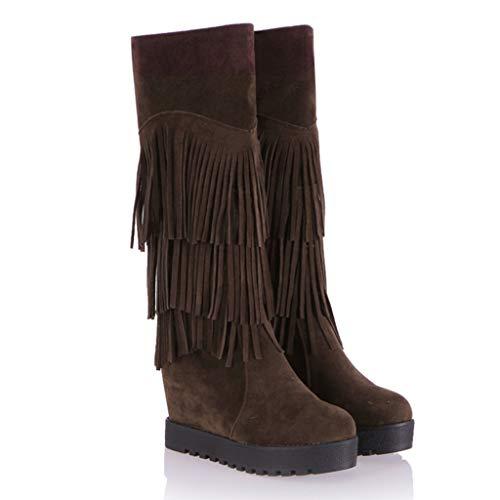 Lowest Prices! cobcob Womens Knee High Boots,Ladies Fringe Zipper Waterproof Snow Booties Flock Fur ...
