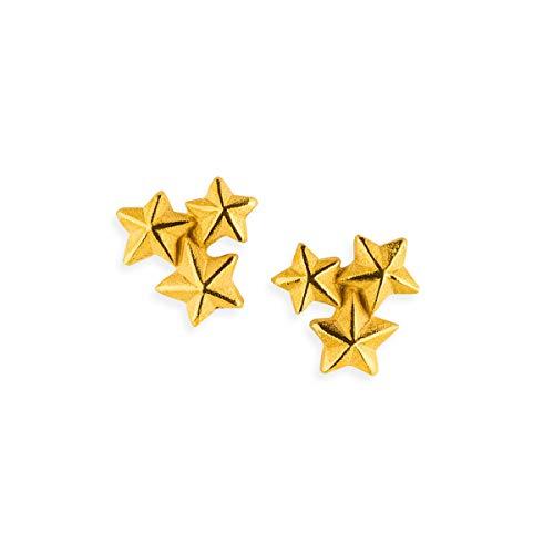 Drachenfels Ohrstecker in Echtsilber   Kollektion Sternenglanz & Schattentanz   Kleine Sternen-Ohrstecker aus 925 Sterlingsilber, goldplattiert