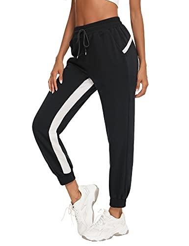 Wayleb Pantalon de Sport Femme Séchage Rapide avec Poches Pantalon de Jogging Élastique avec Cordon de Serrage et Bande Blanche Pants de Survêtement Long pour Yoga Fitness Running