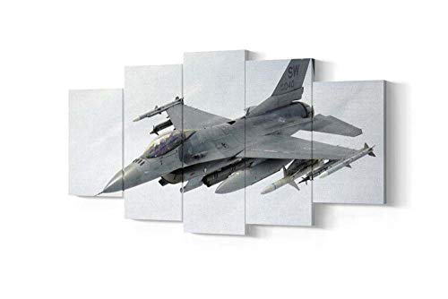 KOPASD Wall Art 5 panels - F-16 Falcon Fighter Jet - Panoramic Canvas - Image Printed on Canvas - Art on Canvas - Art Print Images - Choose your Size