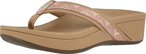 Vionic Women's Pacific High Tide Toepost Sandals – Ladies Platform Flip Flops with Orthotic Arch Support Dusty Pink Chevron 11 Medium US