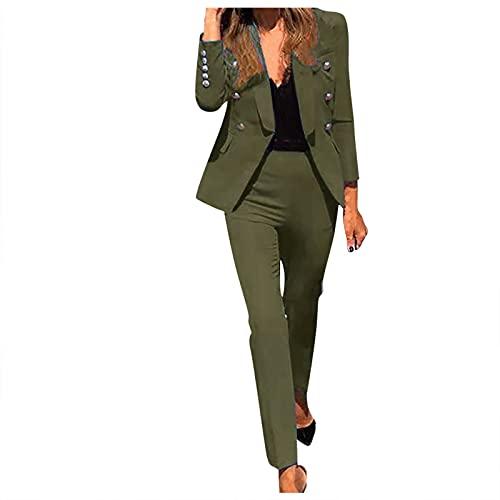 Hipeya Damen Mode Strickjacke Blazer und Hose Set Frauen Langarm Revers Cardigan Sakko Mäntel Bodycon Lange Hosen Casual Anzugjacke Outwear Bequem Anzüge Jacken Anzughosen