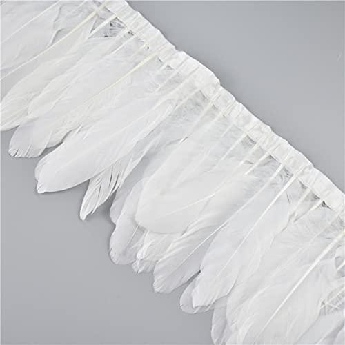 LINGP 2 Metros de Plumas de Ganso teñidas de Colores, Plumas de Ganso Blancas Reales en Cinta, Cinta, Flecos, Vestido, Skrit, Material de Costura Artesanal
