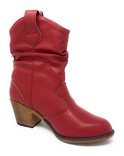 Charles Albert Women's Modern Western Cowboy Distressed Boot with Pull-Up Tabs red Size: 4 UK