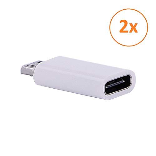 REY - Pack 2 Unidades Adaptador Conversor Carga Datos USB 3.1 Tipo C Hembra a Micro USB Macho Blanco