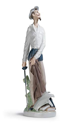 LLADRÓ Figura Don Quijote Erguido. Figura Don Quijote de Porcelana.