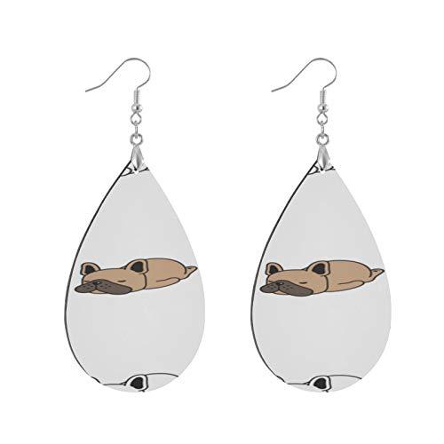 XHYYY Teardrop Wooden Earrings Drop Dangle Earings Lightweight Dog French...