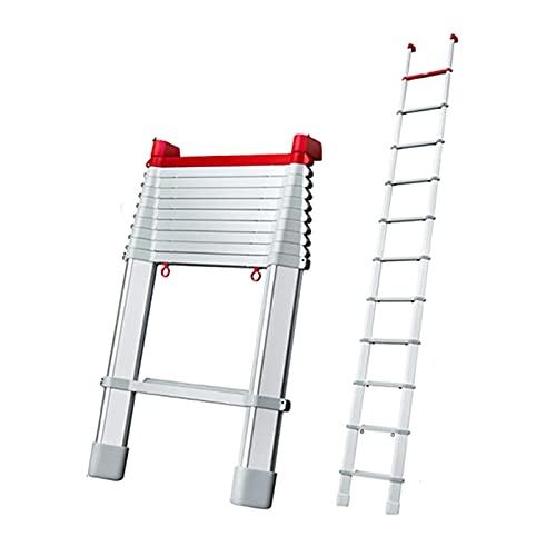 Escalera telescópica Retracción de un botón Escaleras de extensión de Aluminio Escalera Plegable portátil y Extensible para Loft para el hogar (tamaño: 3.9M) Escalera telescópica