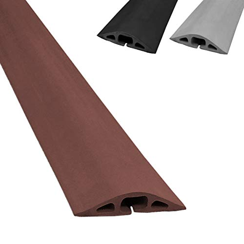 Electriduct D-2 Rubber Duct Cord Cover - 36 Inch (3 Feet) Brown Floor Cable Protector