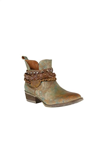 Corral Women's Green Harness & Stud Details Round Toe Leather Western Ankle Cowboy Boots - 7.5 B