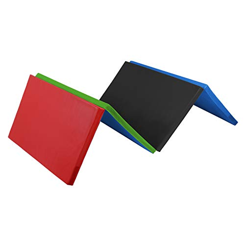 ALPIDEX Klappbare Gymnastikmatte Turnmatte für zuhause 240 x 120 x 5 cm für Kinder und Erwachsene - mit Klettecken, 3fach klappbar, Farbe:bunt