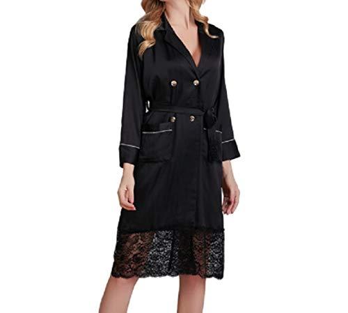 Bedgown Vrouwelijke Vrouw Zijde Zachte Lente Zomer Herfst Dunne Sectie Appeal Nachtkleding Pyjama Rok Pyjama ' s/Nachtjapon Suit Prachtig Uiterlijk M Zwart