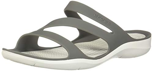 Crocs Damen Swiftwater Sandal Zehentrenner, Grau (Smoke/White 06x), 38/39 EU