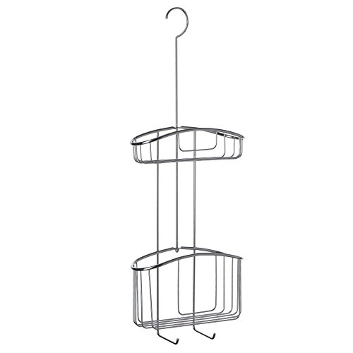 Tatay cestillo Metal Cromado, con 2 cestas de Diferentes capacidades, Colgar en la mampara de Ducha