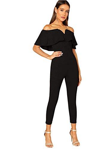 Verdusa Women's Elegant Off Shoulder Ruffle High Waist Long Jumpsuit Black M