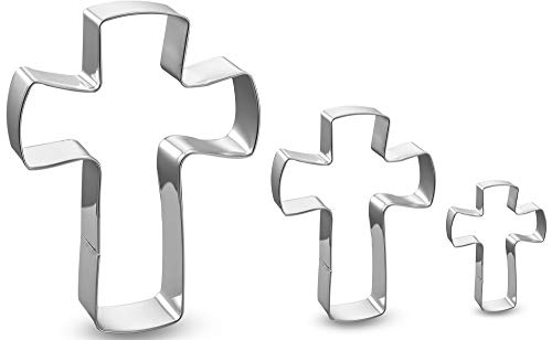 Holy Cross Cookie Cutter Set-3 Pieces in Assorted Sizes Stainless Steel