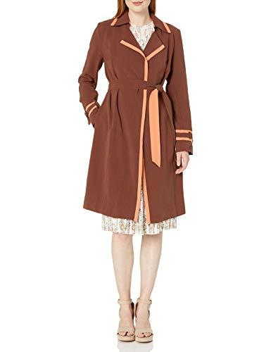 Dear Drew by Drew Barrymore Women's Wall St Color Block Trench Coat, Fudgesickle, M