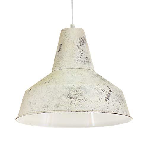 EGLO Pendelleuchte Somerton, 1 flammige Hängelampe Industrial, Vintage, Hängeleuchte aus Stahl in Weiß gekalkt, Esstischlampe, Wohnzimmerlampe hängend mit E27 Fassung