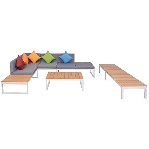 Festnight 5-delige Loungeset met kussens aluminium en Eettafel en stoel salontafel voor eetkamer woonkamer keuken HKC