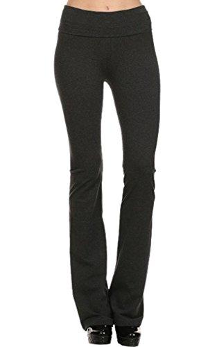 T Party - Pantalones de Yoga de algodón Grueso con Cintura Plegable, Patas largas de Corte de Bota – no se Ven a través - Negro - Large
