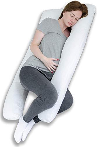 Almohada de embarazo y maternidad de cuerpo completo para dormir y para adultos - Forma de U - 100% algodón, 100% algodón, Blanco, 140x85x20cm