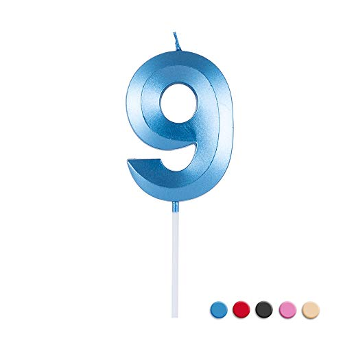 Birthday Candles Extended Big Number Candle Multicolor 3D Design Cake Topper Decoration for Any Celebration(9 Candle Blue)