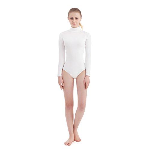 SUPRNOWA Women's Turtleneck Lycra Spandex Long Sleeve Leotard (X-Small, White)