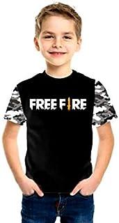 Camisa Camiseta Free Fire Infantil Juvenil manga camuflada